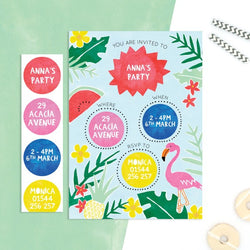 Personalised Tropical Invitations With Sticker Activity - Cotton Twist