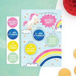 Personalised Unicorn Invitations With Sticker Activity - Cotton Twist
