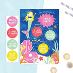 Personalised Mermaid Invitations With Sticker Activity - Cotton Twist