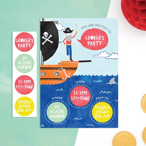 Personalised Pirate Invitations With Sticker Activity - Cotton Twist