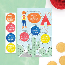 Personalised Cowboy Invitations With Sticker Activity - Cotton Twist