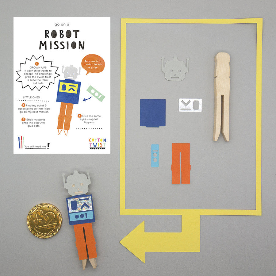 Make Your Own Robot Peg Doll Kit - Cotton Twist