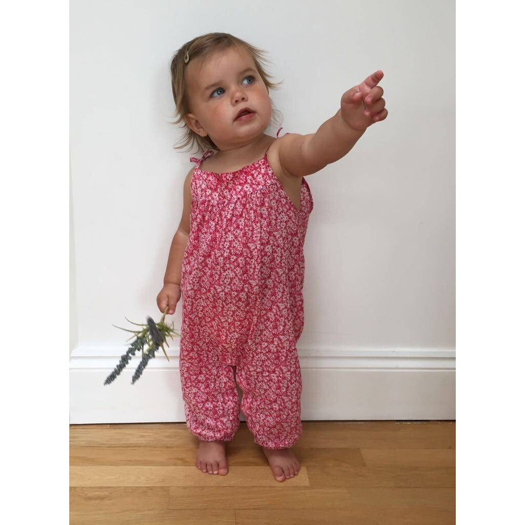 Isla Playsuit in Ditsy Pink - JABAKids