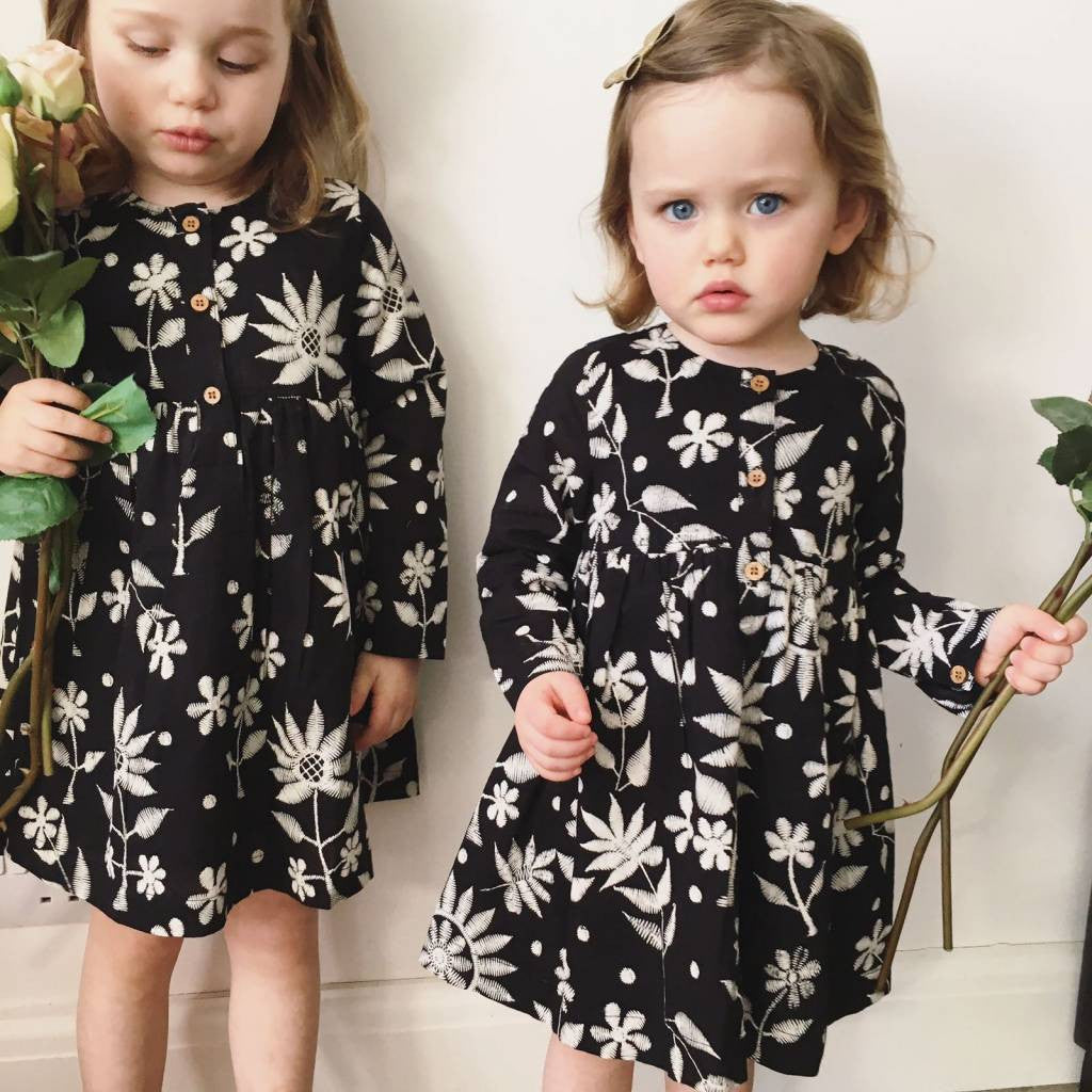 Tabitha Dress in Embroidered Print - JABAKids
