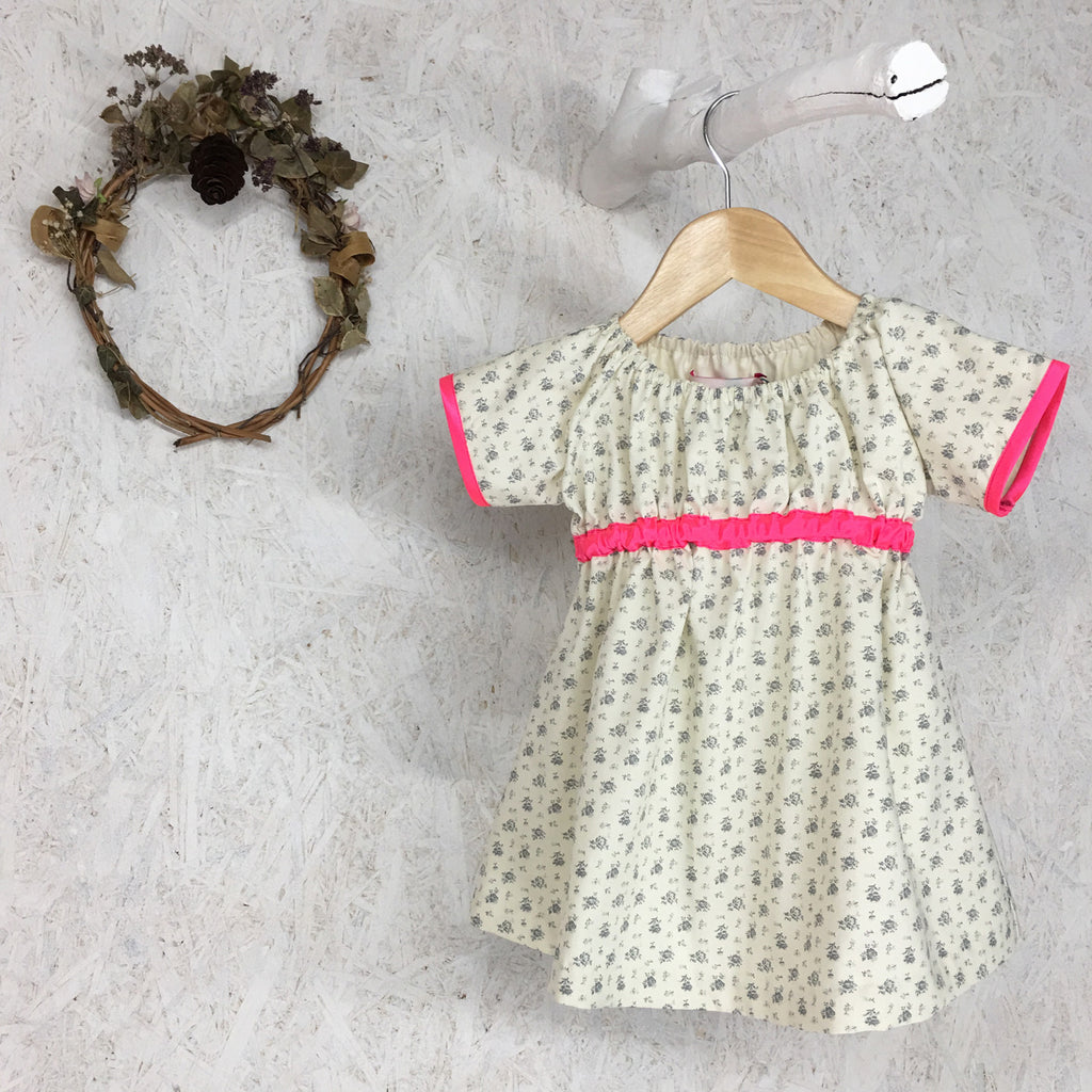 Sage Flower and Neon Pink Dress - JuniperBerry Kids