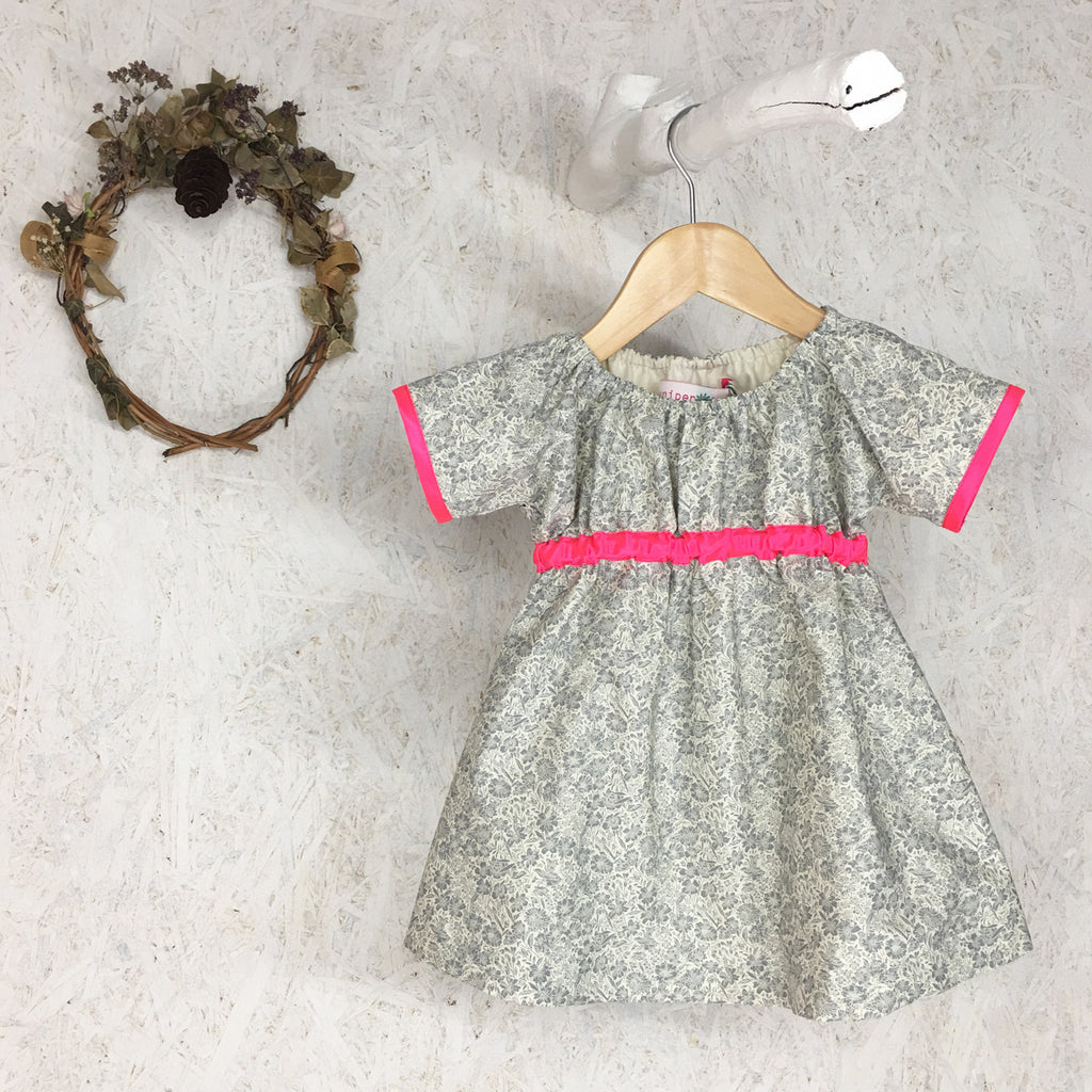 Dark Grey Floral and Neon Pink Dress - JuniperBerry Kids