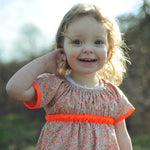 Liberty Print Floral with Neon Orange Dress - JuniperBerry Kids