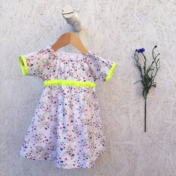 Floral Sprig and Neon Yellow Dress - JuniperBerry Kids
