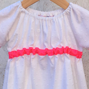 White Cotton and Neon Pink Dress - JuniperBerry Kids