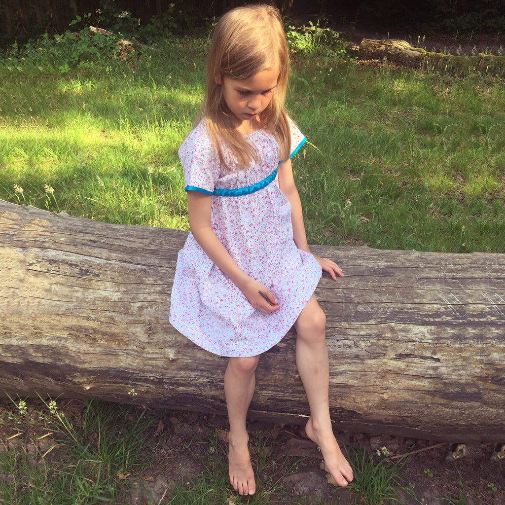 Ditsy Pink Flower and Turquoise Dress - JuniperBerry Kids