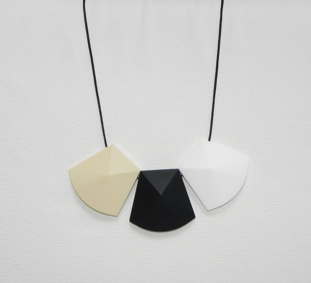 Trio Teething Necklace in Classic Chic monochrome - Halia Rose