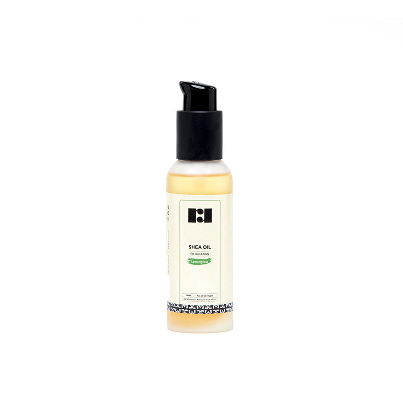 travel sized lemongrass shea oil by R&R Luxury with pump lid