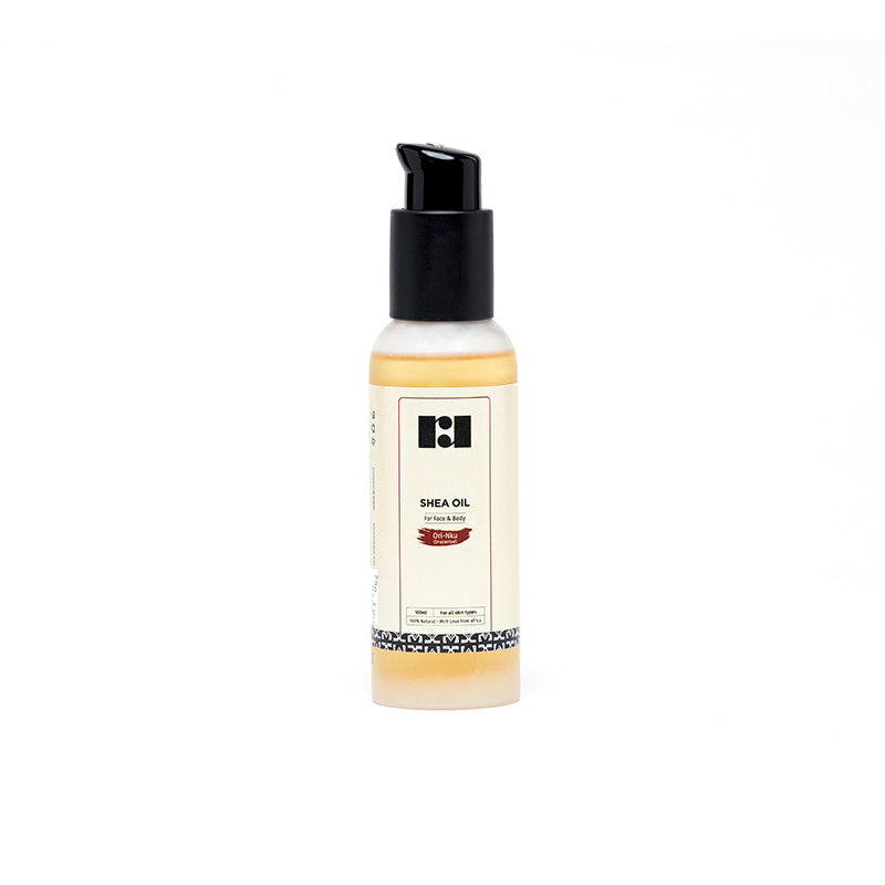 travel sized unscented shea oil by R&R Luxury with pump lid
