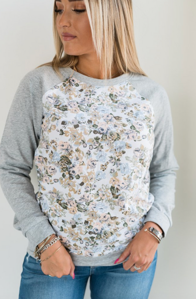 75e4bcabf551 Floral Front Pullover in Grey