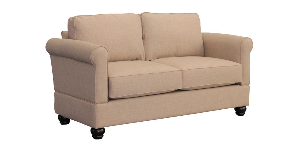Geor own Loveseat with Mahogany Bunn Leg – Small Space Seating