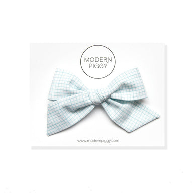Oversized Hand-tied Bow | Blue Grid - The Yellow Canary