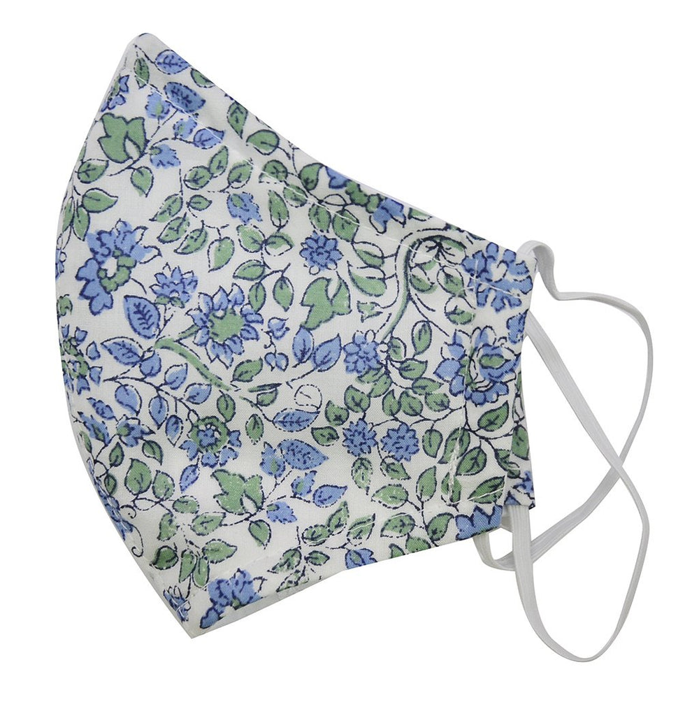 Cotton Face Mask | Blue Floral - The Yellow Canary