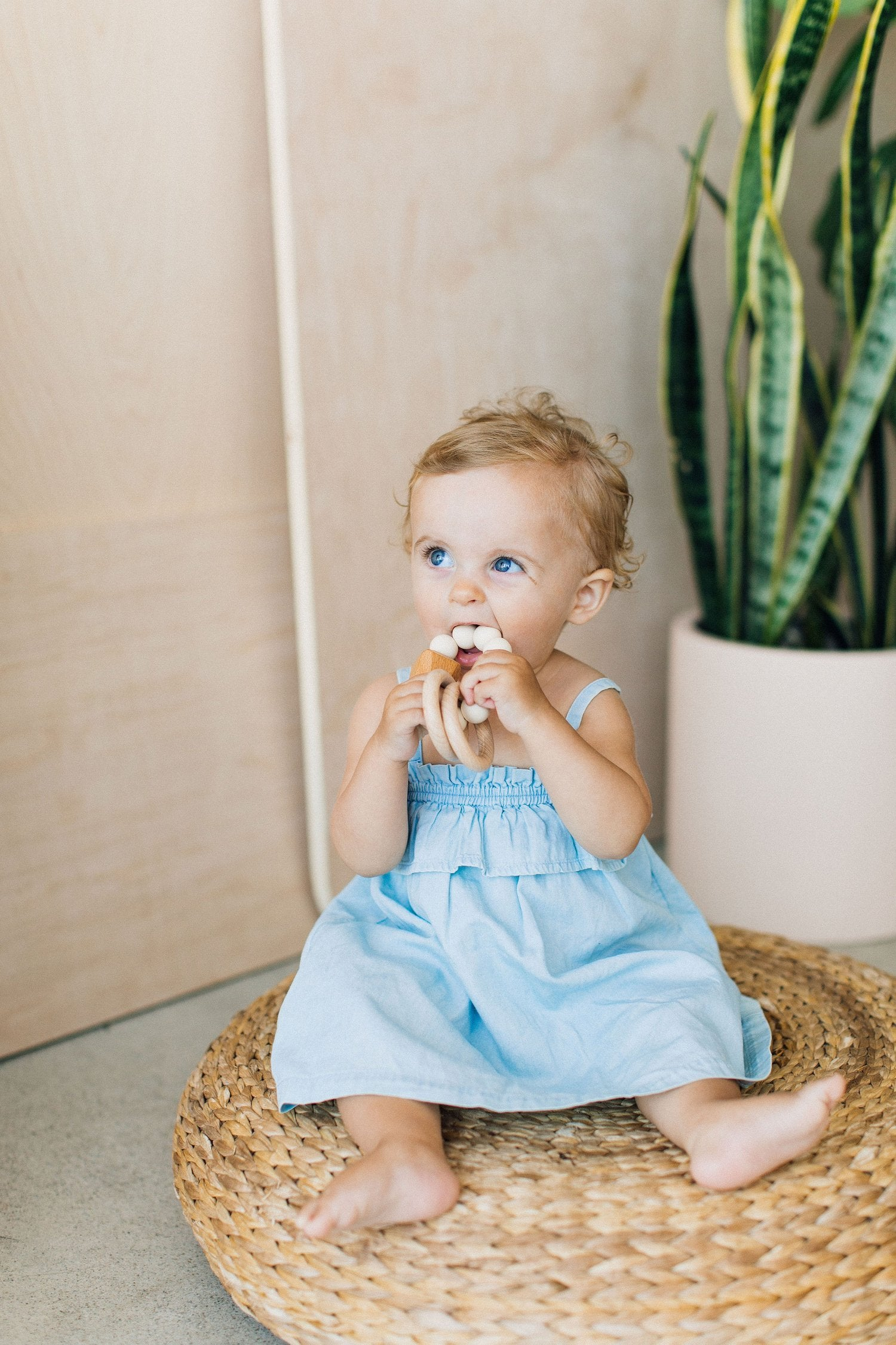 Hayes Silicone + Wood Teether | Moonstone - The Yellow Canary