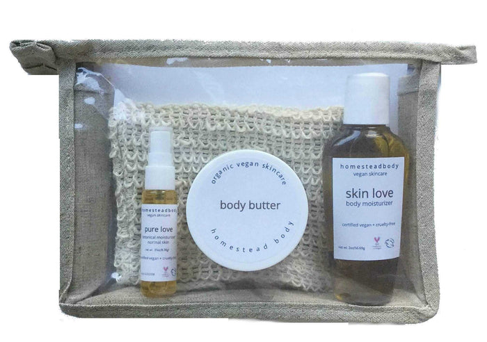 my essentials go pack - homestead body organic plant-based skincare