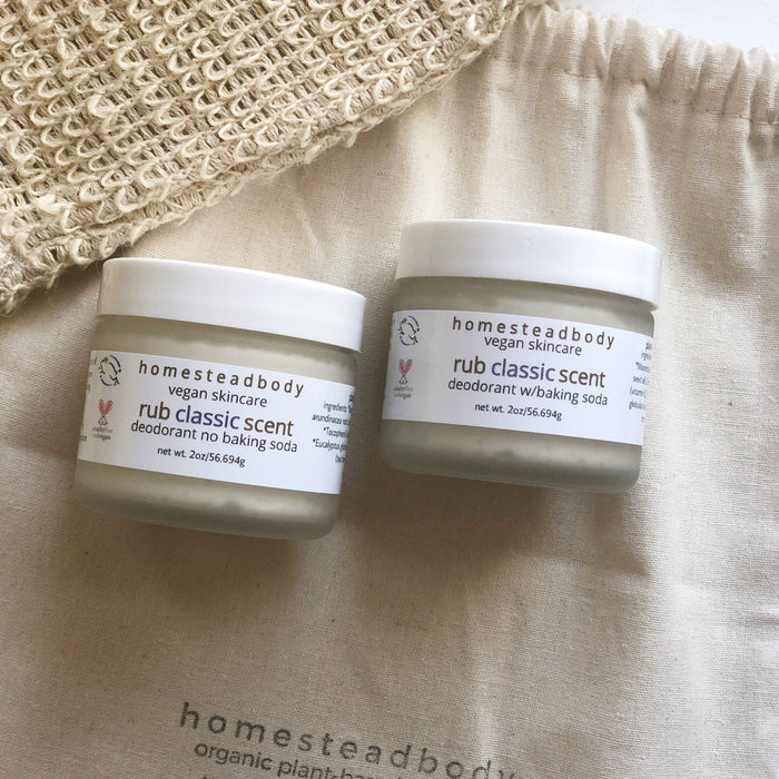 Homestead Body Organic Skincare products made with certified vegan + cruelty-free ingredients