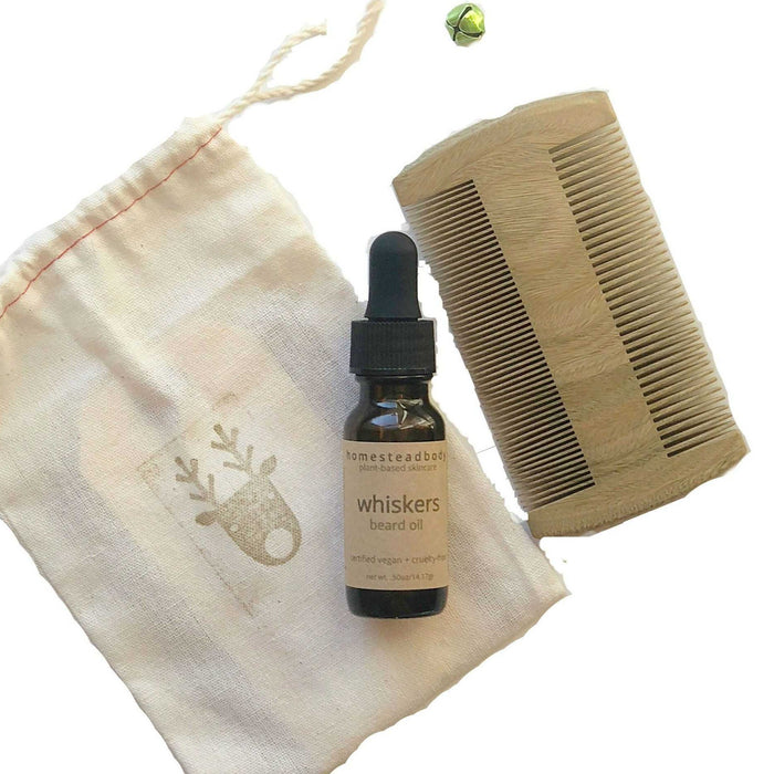 holiday whiskers beard oil + wooden beard comb - homestead body organic plant-based skincare