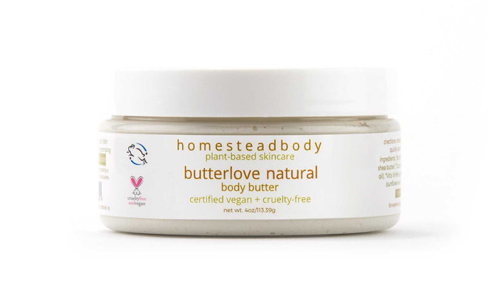 homestead body organic plant-based body butter made with certified vegan + cruelty-free ingredient