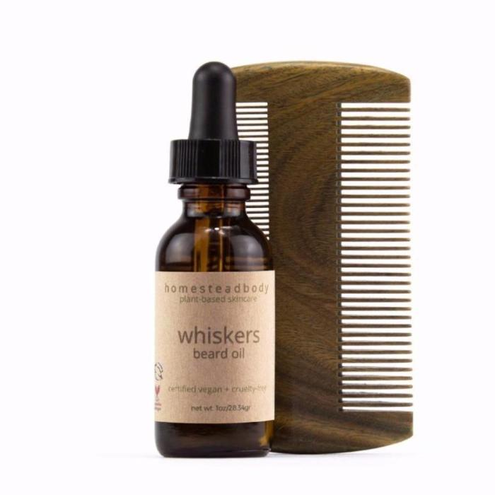 whiskers beard oil + wooden beard comb set - homestead body organic plant-based skincare