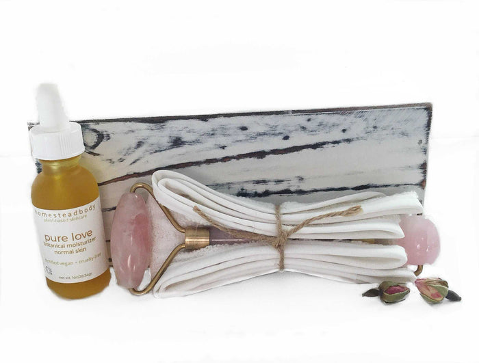 rose quartz face roller kit with pure love organic face oil