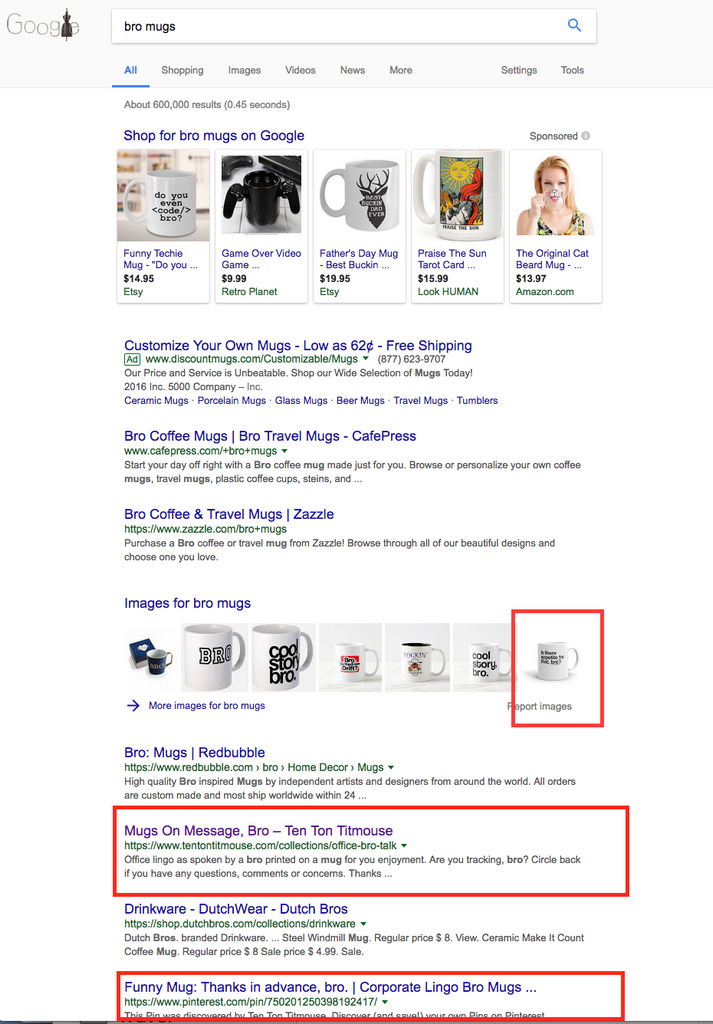 Ten Ton Titmouse Mugs on 1st Page of Google Search!