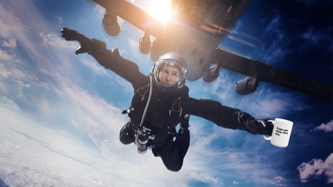 Tom Cruise in Mission Impossible: Fallout skydiving with Ten Ton Titmouse Mug - Dope-Ass Deep Dive