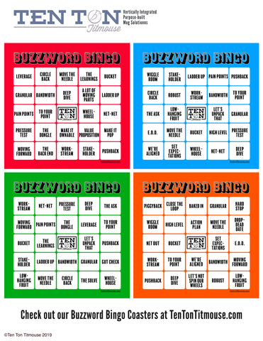 Ten Ton Titmouse Free Download PDF of Buzzword Bingo set of 4 color 8.5 by 11 print out