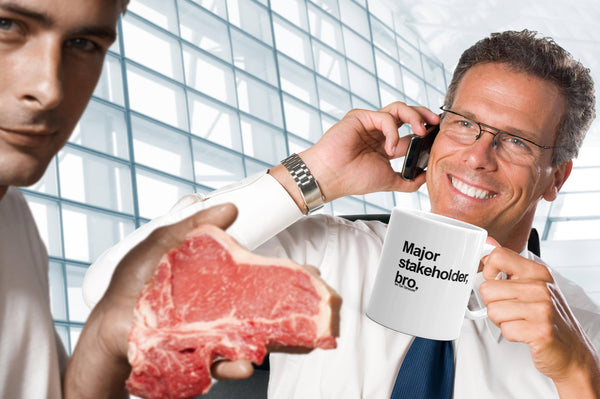 funny office mug: major stakeholder, bro - stock photo of business guy holding mug with another guy photobombing holding a steak