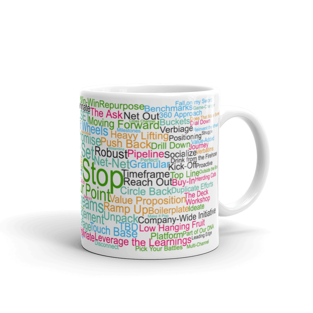 Funny Mug: Hard Stop, word cloud, Morning Buzzword Collection