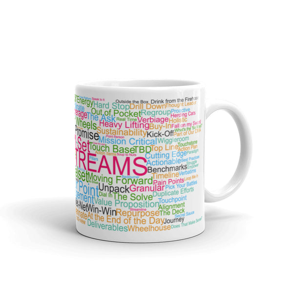 Funny coffee mug: Corporate buzzwords word cloud. Workstreams.