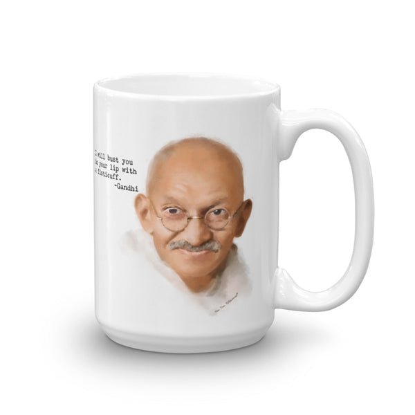 "Funny coffee mug: Words of Wisdom, portrait of Gandhi with quote, ""I will bust you in your lip with a fisticuff."""