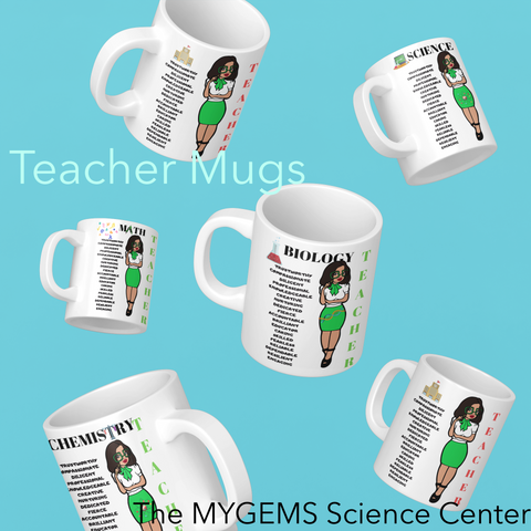 11 oz Regular Teacher Mugs - With Green Dress