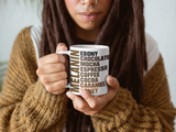 Melanin coffee mug shows the molecular structure of Melanin on the other side while the words are displayed on the front side.