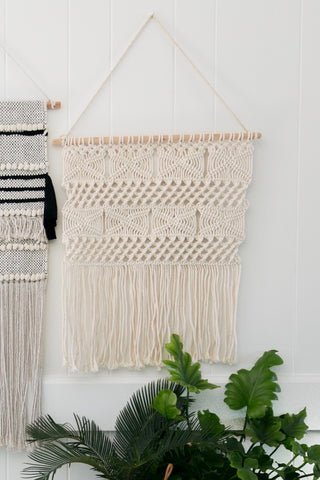 MOROCCAN MACRAME WOVEN WALL HANGING PLANTER