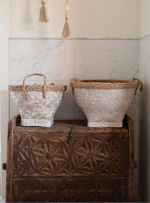 WOVEN BAMBOO BASKETS - WHITEWASH