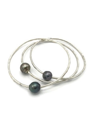 TAHITIAN PEARL BANGLE - SILVER