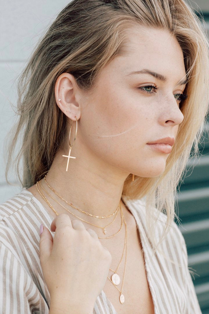 MAY MARTIN - LARGE CROSS HOOPS