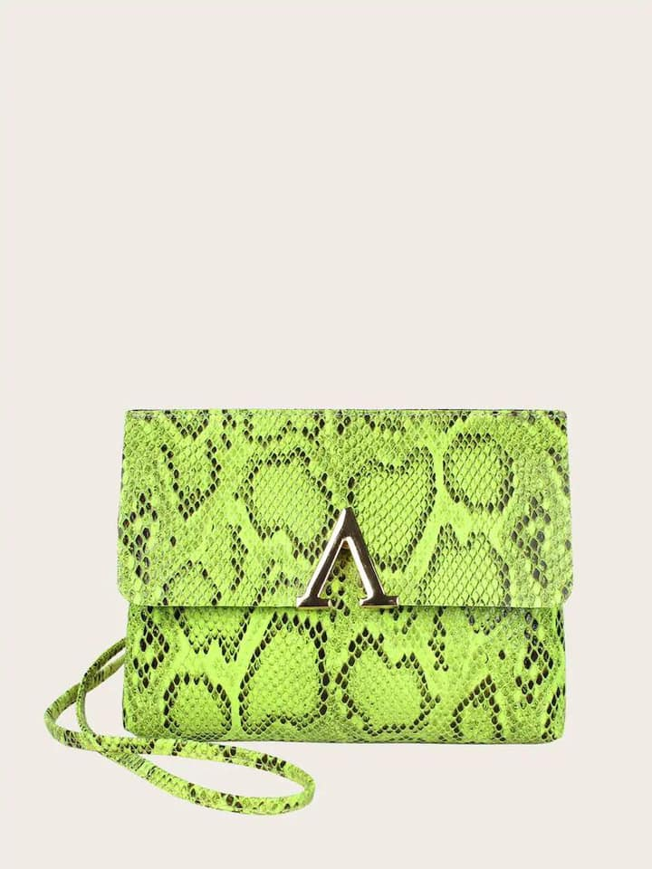 Lime Snake Skin Crossbody