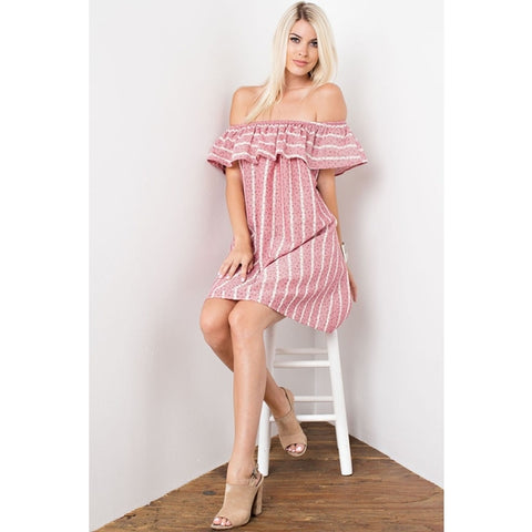 Ruffle Top Off the Shoulder Dress