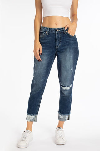 High Rise Hem Detail Boyfriend Jean