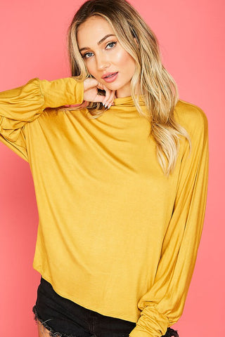 Long Batwing Sleeve High Neck Jersey Knit Top