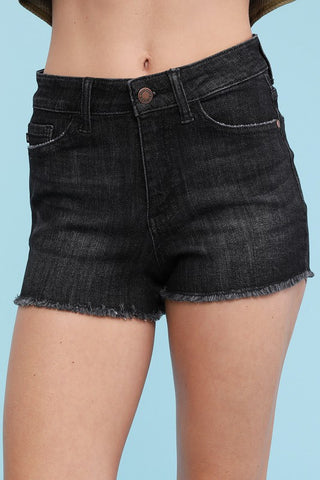 Black Cut Off Shorts- PLUS