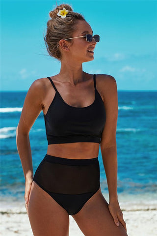 Black The Weekend Two-piece Mesh Patchwork Bikini