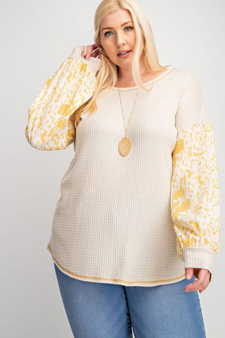 Waffle Knit Top with Bubble Sleeves