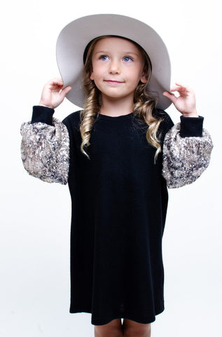KIDS SEQUIN SLEEVE DRESS