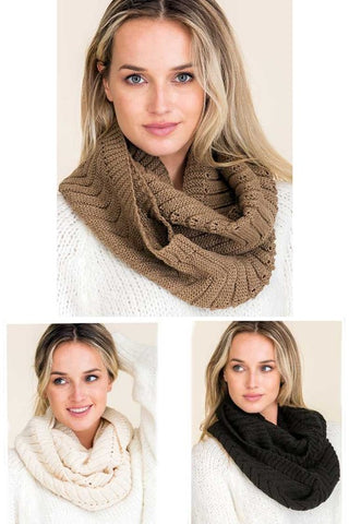 Raised Knit Infinity Scarf